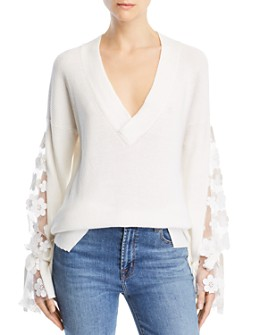 FRENCH CONNECTION - Caballo Floral-Lace Sleeve Sweater