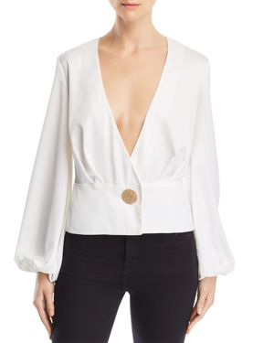 FINDERS KEEPERS Pompeii Front-Button Peplum Blouse in Ivory
