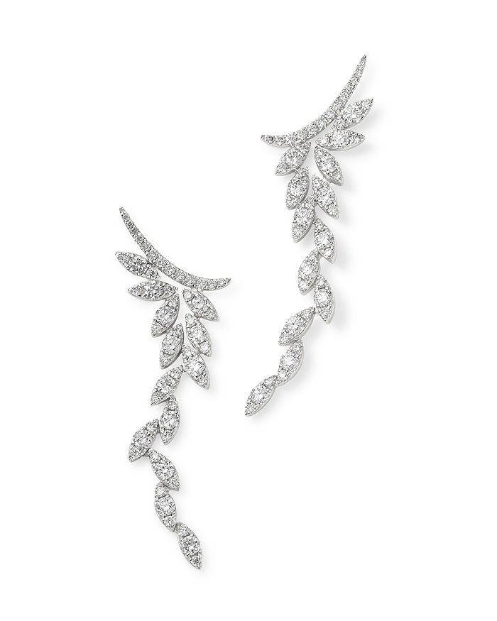 Bloomingdale's - Diamond Feather Drop Earrings in 14K White Gold, 1.35 ct. t.w. - 100% Exclusive