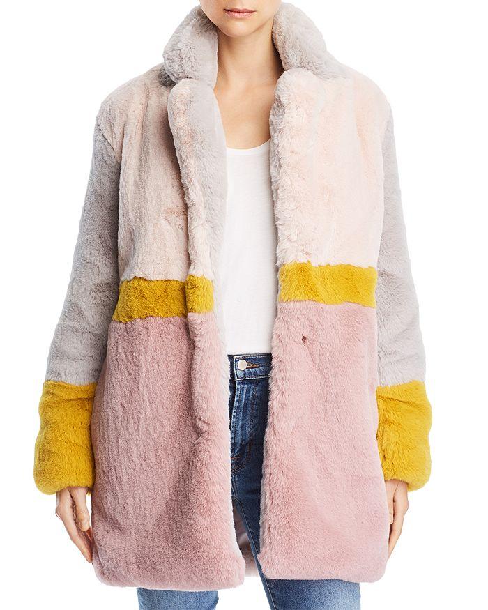 Apparis - Lisa Color-Blocked Faux-Fur Coat
