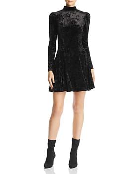 AQUA - Puff-Sleeve Crushed-Velvet Swing Dress - 100% Exclusive
