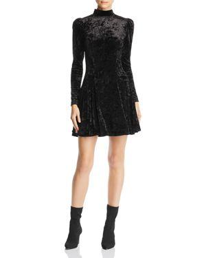 AQUA Puff-Sleeve Crushed-Velvet Swing Dress - 100% Exclusive in Black