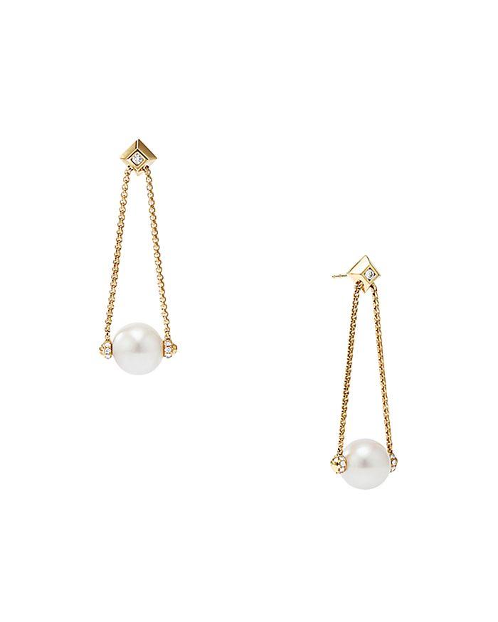 David Yurman - Solari Pearl Drop Earring with Diamonds in 18K Yellow Gold