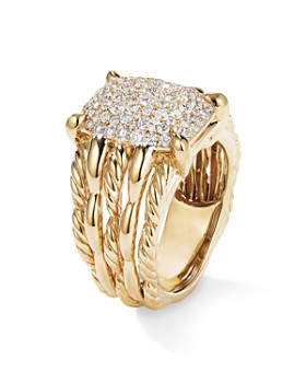 David Yurman - Tides Statement Ring in 18K Yellow Gold with Pave Plate