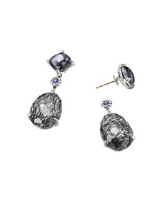 David Yurman - Chatelaine Drop Earrings with Tourmilated Quartz, Black Orchid & Tanzanite