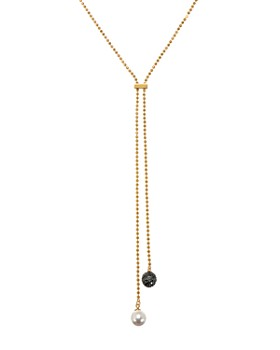 """KARL LAGERFELD Paris - Pavé & Simulated Pearl Lariat Necklace, 16"""""""