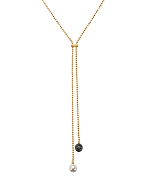 Karl Lagerfeld Paris Pave & Simulated Pearl Lariat Necklace, 16