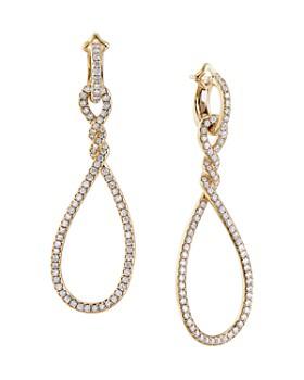 David Yurman - Continuance® Full Pavé Large Drop Earrings in 18K Yellow Gold