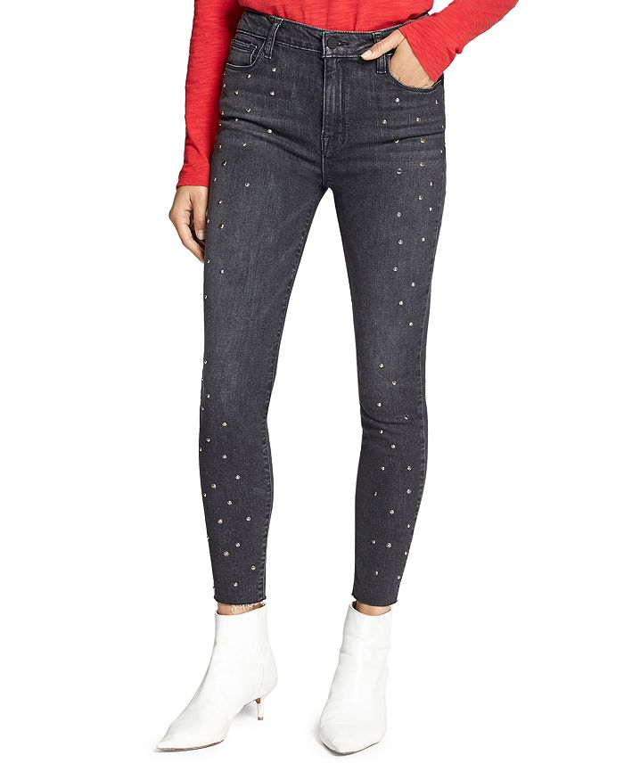 Sanctuary - High Rise Embellished Ankle Jeans in Black Out