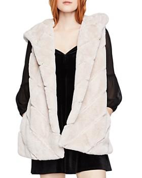 BCBGeneration - Chevron Faux Fur Hooded Vest