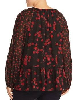 MICHAEL Michael Kors Plus - Eden Rose Print Peasant Blouse