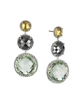 David Yurman - Châtelaine®  Round Drop Earrings with Olive Quartz, Hematine & Prasiolite