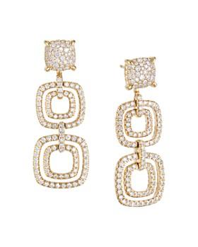 David Yurman - 18K Gold Chatelaine Pavé Diamond & Gemstone Triple Drop Earrings
