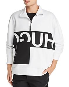 HUGO - Darrius Logo-Print Quarter-Zip Sweatshirt