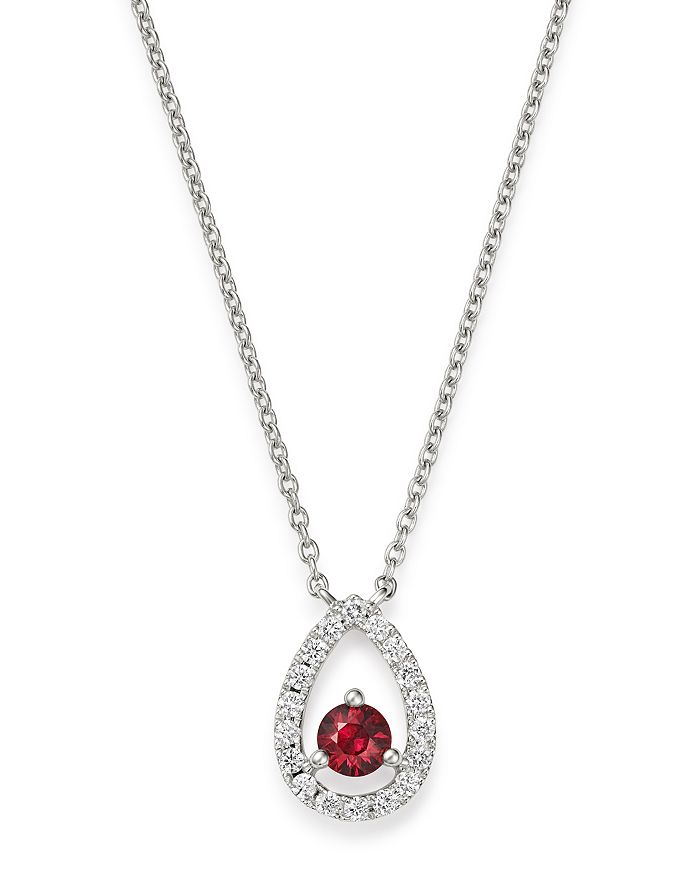 """Bloomingdale's - Ruby & Diamond Pendant Necklace in 14K White Gold, 16"""" - 100% Exclusive"""