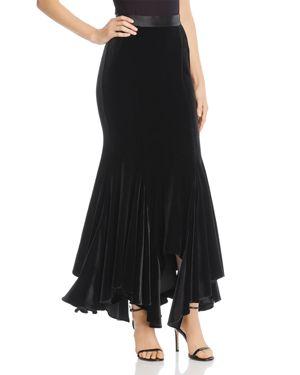 DIVINE HÉRITAGE Velvet Maxi Skirt in Black