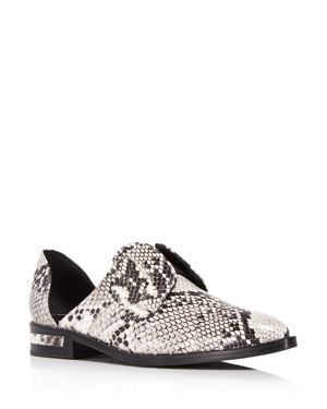 FREDA SALVADOR Women'S Wear Laceless D'Orsay Croc-Embossed Leather Oxfords in Gray/Black Snakeskin Embossed Leather