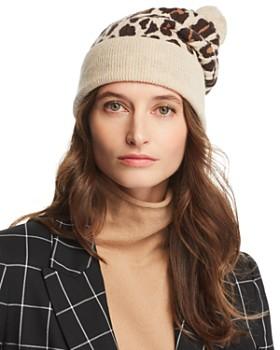 Rosie Sugden - Pom-Pom Leopard Cashmere Beanie