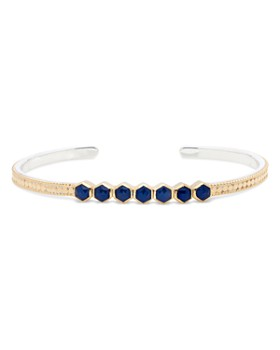 Anna Beck - Blue Sapphire Stacking Cuff Bracelet in 18K Gold-Plated Sterling Silver