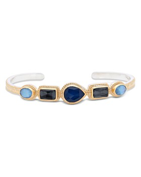 Anna Beck - Sapphire & Hematite Multi Stone Cuff Bracelet in 18K Gold-Plated Sterling Silver
