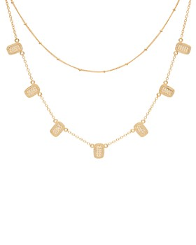 """Anna Beck - Mini Bar Charm Layered Necklace in 18K Gold-Plated Sterling Silver, 13""""-16"""""""