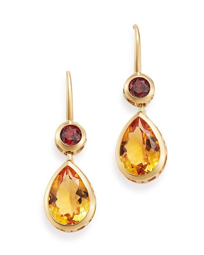 Citrine Garnet Drop Earrings In 14k Yellow Gold 100 Exclusive