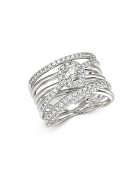 Bloomingdale's - Diamond Crossover Statement Ring in 14K White Gold, 1.1 ct. t.w. - 100% Exclusive