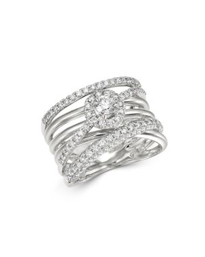 Bloomingdale's Diamond Crossover Statement Ring in 14K White Gold, 1.1 ct. t.w. - 100% Exclusive