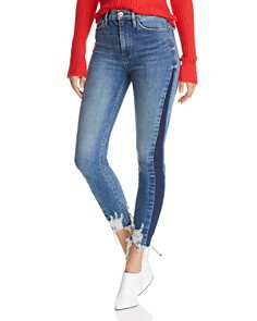 Hudson - Holly Shadow-Stripe Crop Skinny Jeans in Shade Off