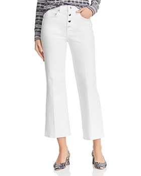 rag & bone/JEAN - Justine High-Rise Cropped Wide-Leg Jeans in White