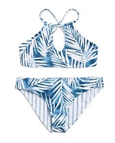 Splendid - Girls' Reversible Palm-Print & Striped 2-Piece Swimsuit - Big Kid