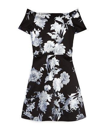 AQUA - Girls' Foil Floral Dress, Big Kid - 100% Exclusive