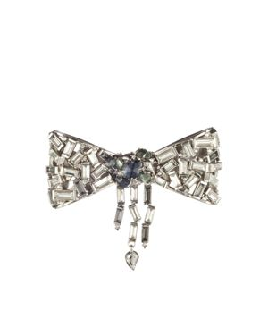 Alexis Bittar Scattered Crystal Baguette Bow Pin