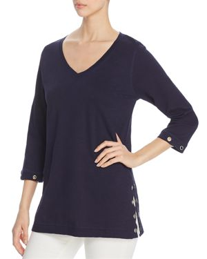 AVEC Grommet-Trim Slub-Cotton Sweater in Navy