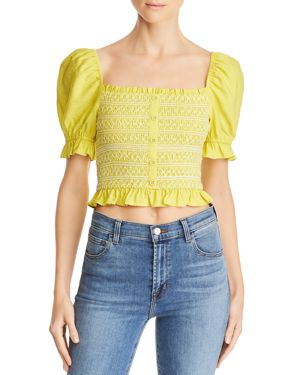 LOST AND WANDER Lost + Wander Bloody Mary Smocked Cropped Top in Lime