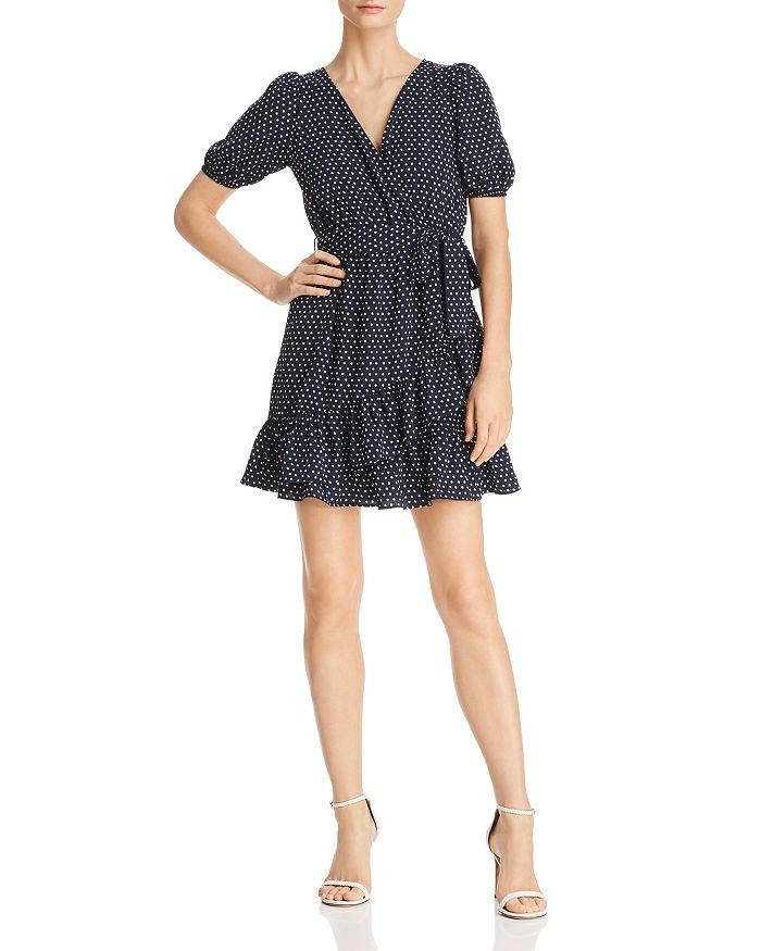 AQUA - Ruffled Polka Dot Faux-Wrap Dress - 100% Exclusive