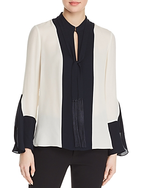 Elie Tahari KARISSA SILK COLOR BLOCK BLOUSE