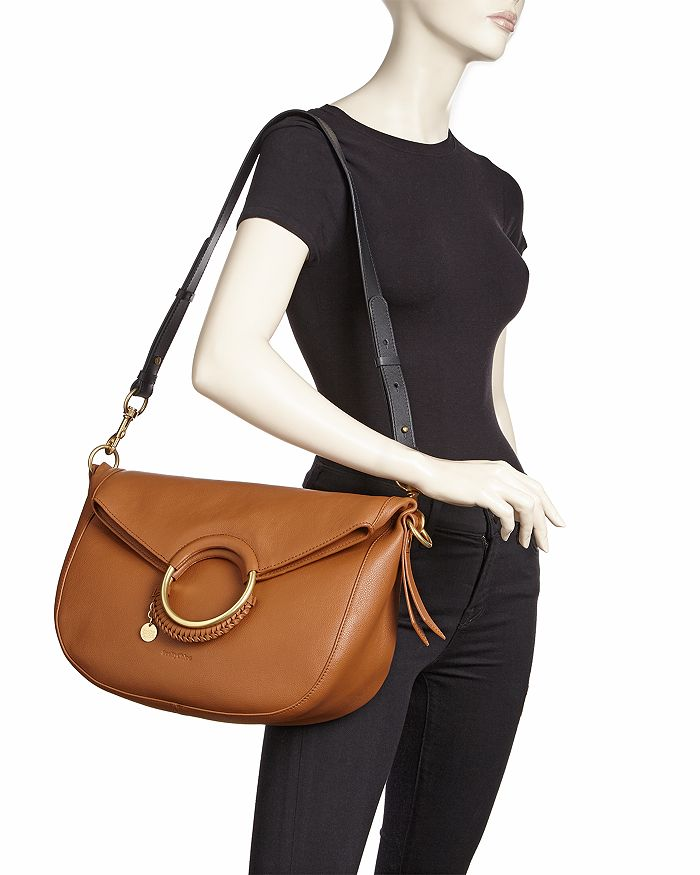 0d441bc64fd See By Chloe Monroe Large Ring Handle Leather Shoulder Bag