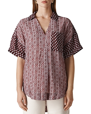 Whistles Lea Woodblock-Print Shirt