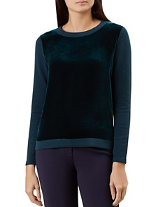 HOBBS LONDON - Benita Velvet-Front Sweater