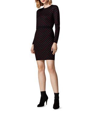 KAREN MILLEN Metallic-Stripe Body-Con Dress in Multicolor