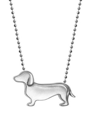 Little Animals Dachshund Pendant Necklace In Sterling Silver, 16