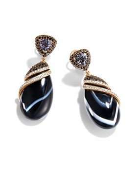 JOHN HARDY - 18K Yellow Gold Cinta Collection One-of-a-Kind Tanzanite & Banded Agate-Rock Crystal Triplet Earrings with Black & White Diamond - 100% Exclusive