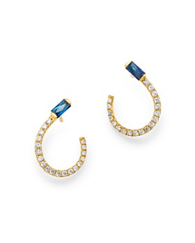 Bloomingdale's - Blue Sapphire & Diamond Front-to-Back Earrings in 14K Yellow Gold - 100% Exclusive