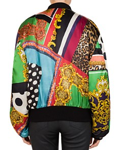 The Kooples - Mixed-Print Silk Bomber Jacket