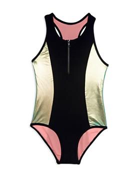 cec3c58e6e Gossip Girl - Girls' Metallic One-Piece Zip Swimsuit - Big Kid ...