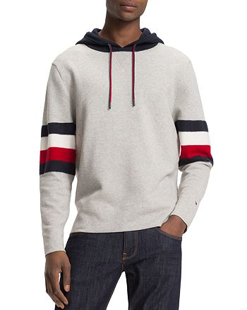 Tommy Hilfiger - Stripe-Accented Color-Block Hooded Sweatshirt