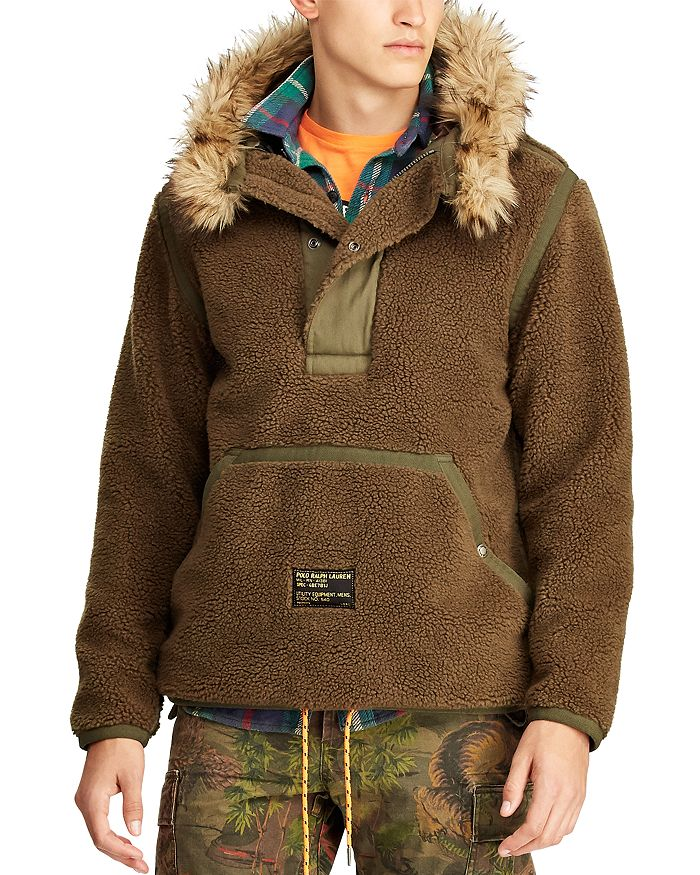 Polo Ralph Lauren - Faux Fur–Trimmed Fleece Hooded Pullover Jacket