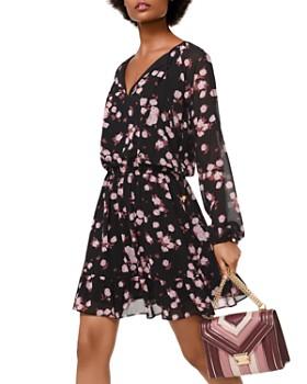 MICHAEL Michael Kors - Rose Print Georgette Tie-Neck Dress