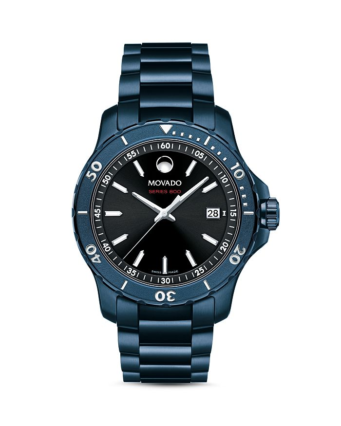 Movado Series 800 Blue Watch, 40Mm In Black/Blue